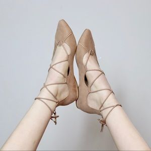 NUDE SCALLOPED LACE UP POINTED TOE FLATS